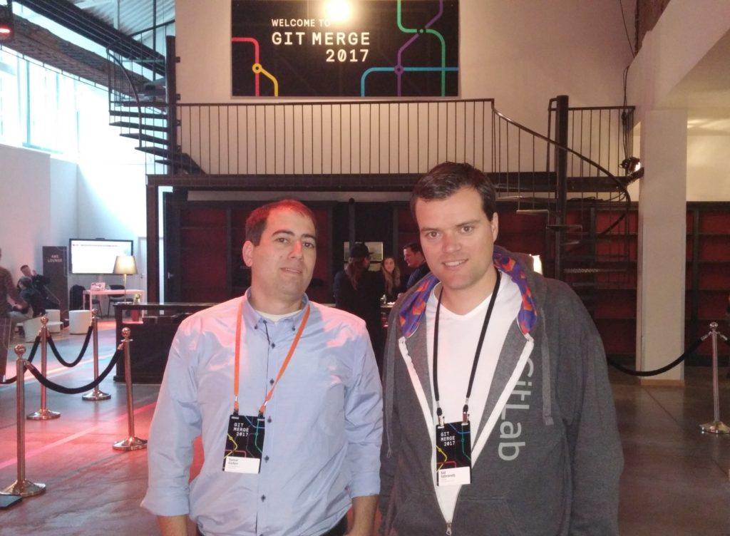 GitLab CEO with ALMtoolbox CEO at Git Merge 2017