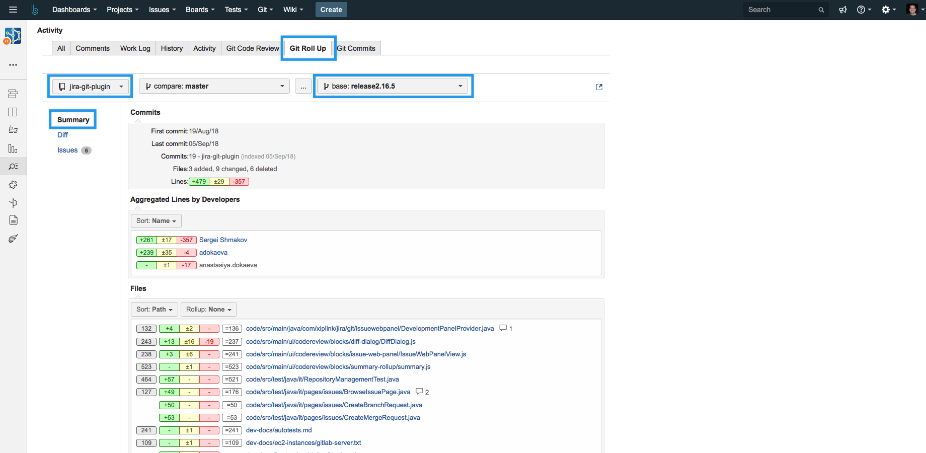 git jira integration compare two branches